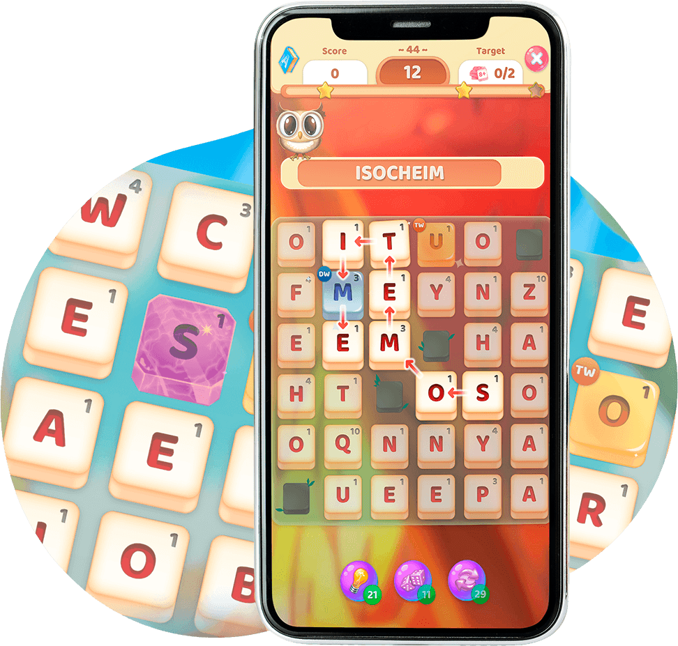 A screenshot of Owls and Vowels - a fun mobile word game where you can define every word you spell.