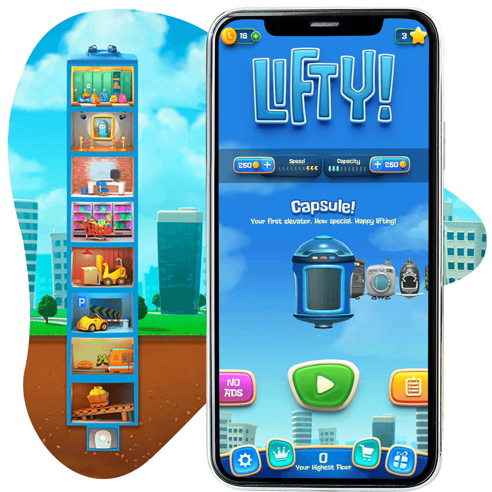 Thumbnail image for mobile game Lifty: A frantic and fun elevator puzzle game