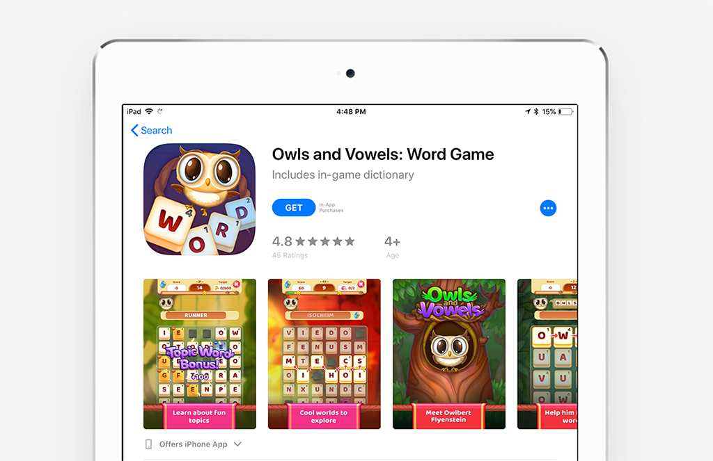An image of Owls and Vowels on the app store