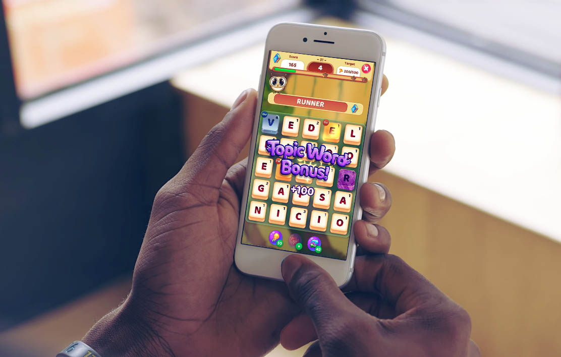 An image of someone playing Owls and Vowels, a game developed by Sydney based studio Chaos Theory Games