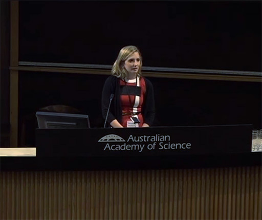 An image of the client speaking at the Academy of Science about Rash Decisions