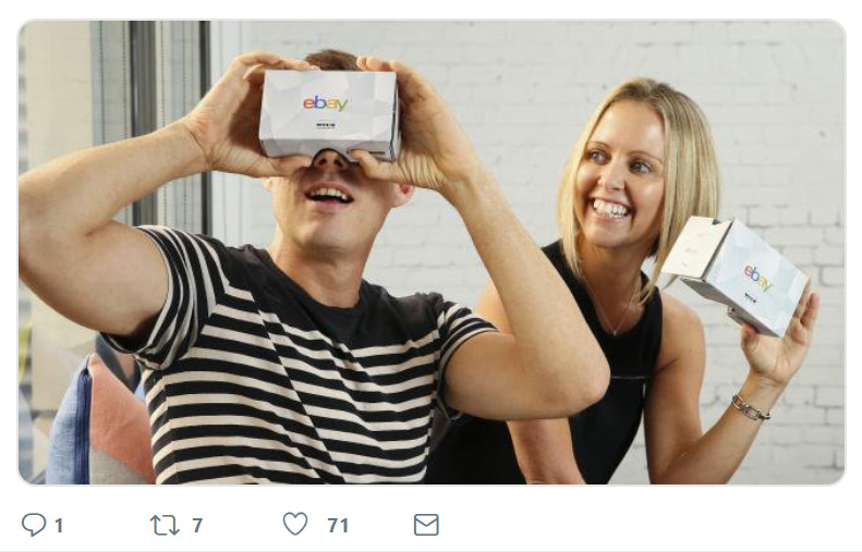 An image of shoppers using the eBay VR cardboard headset