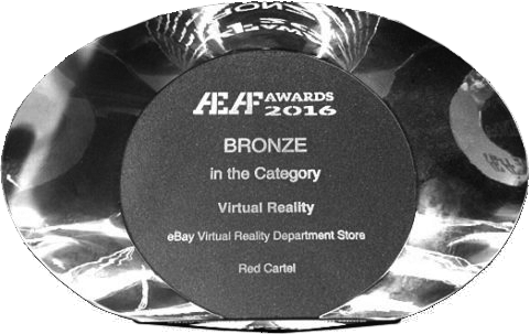 A Bronze AEAF award that the eBay VR shopping experience won