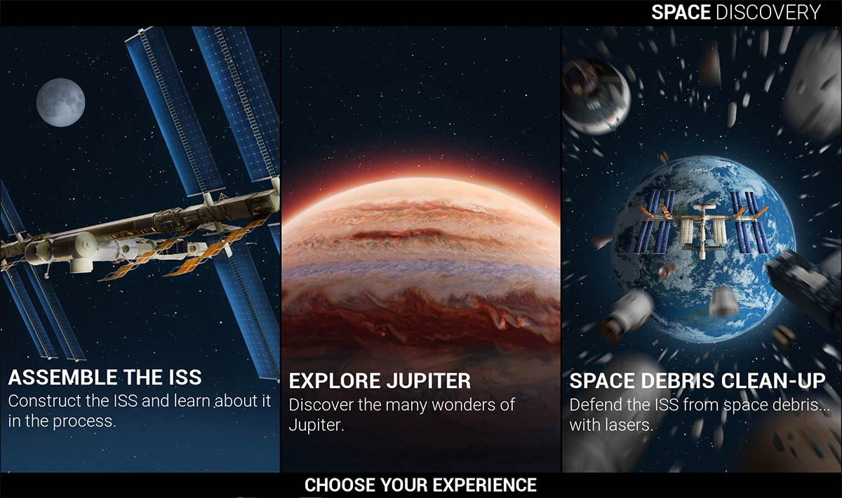 A Screenshot of the main menu from Stargazing AR, an AR Game Developed by the Sydney Based Game Development Studio Chaos Theory Games