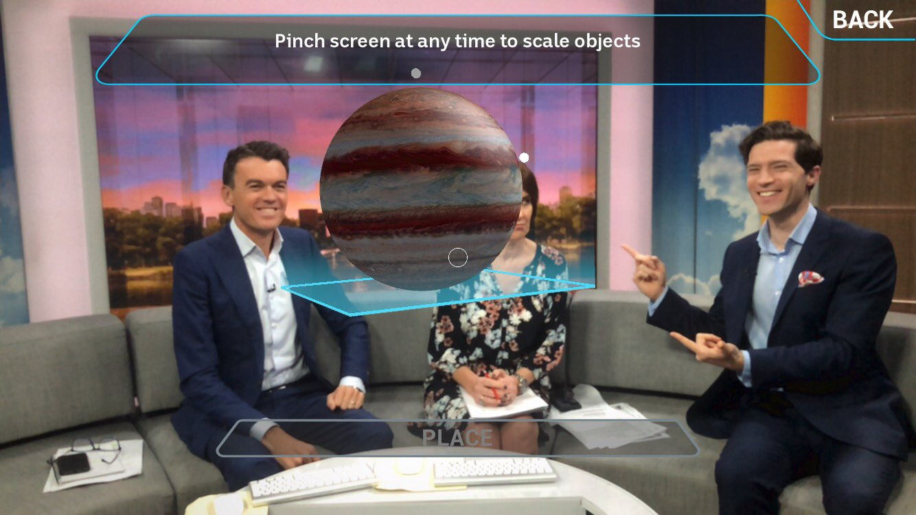 An image of Stargazing AR being used on morning television in Australia
