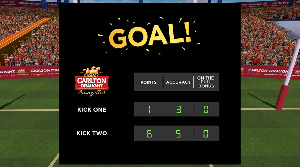 A screenshot of the goal UI system used in AFL Kick for Cash, a VR game developed by Sydney based Game Development Studio Chaos Theory Games