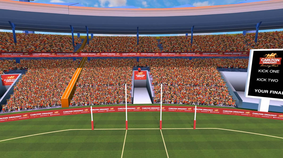 A screenshot of the spectator camera used in AFL Kick for Cash, a VR game developed by Sydney based Game Development Studio Chaos Theory Games