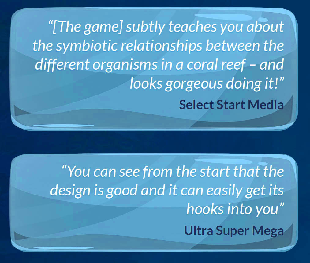 Quotes from media who covered Rainbow Reef, a game developed by Sydney based game development studio Chaos Theory Games