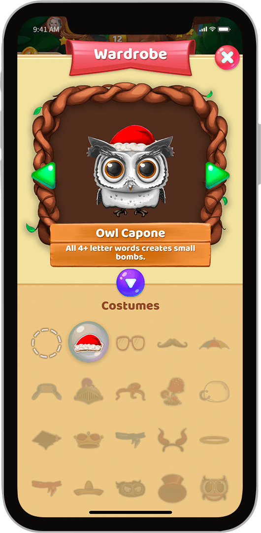 A framed screenshot of a character customisation screen in the App Owls and Vowels, A Mobile Game Developed in Sydney by Chaos Theory Games