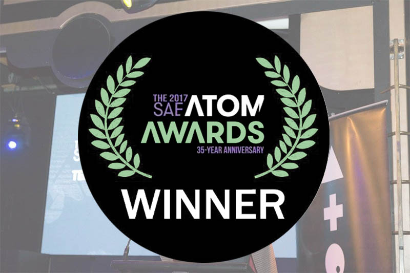 An image of the ATOM Award, where Mass Mutations won an award for best educational app or ebook