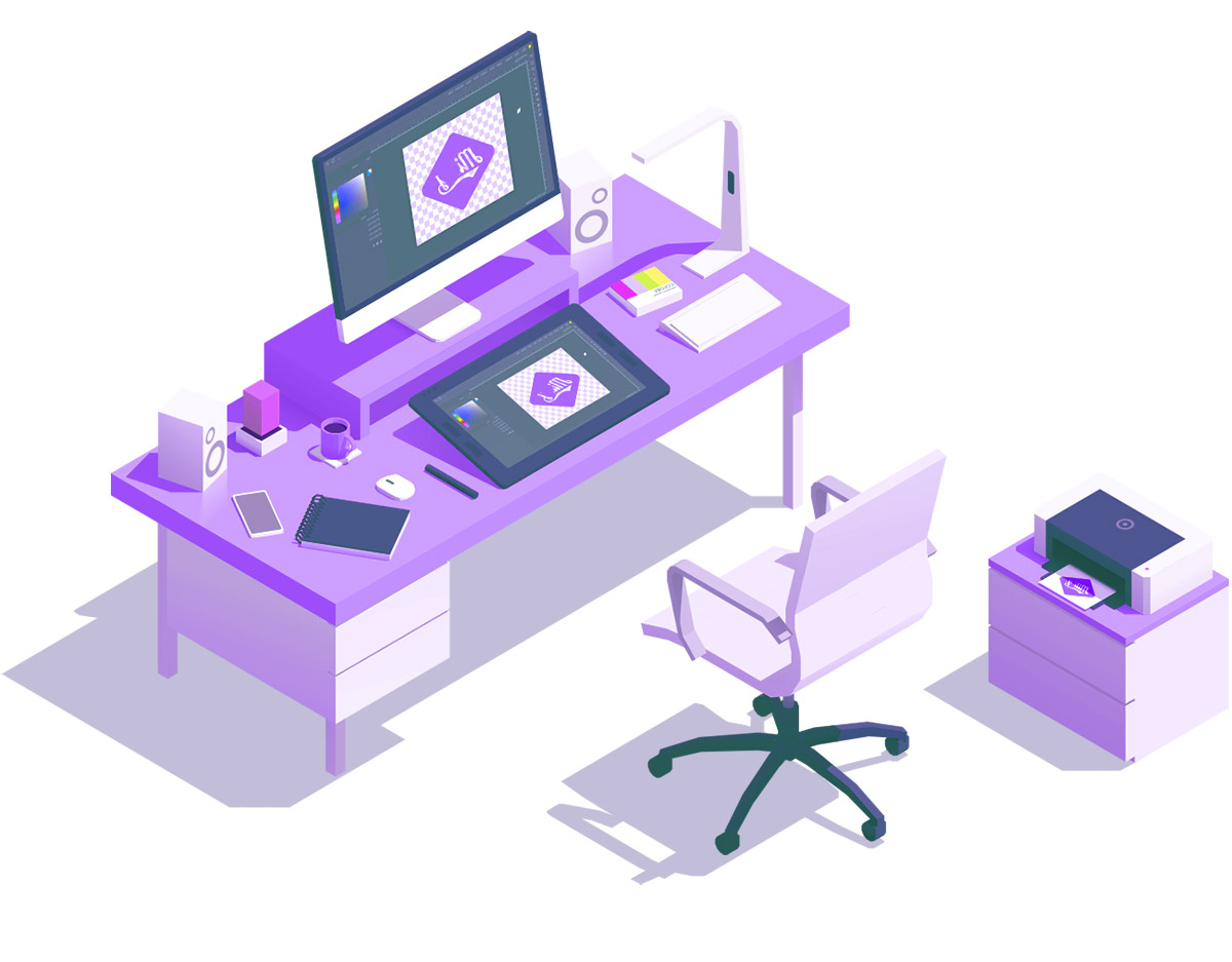 A vector illustration of an artist's workstation.