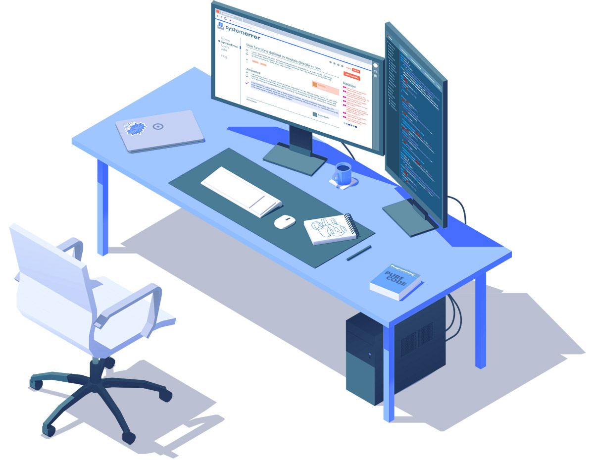 A vector illustration of a developer's workstation.