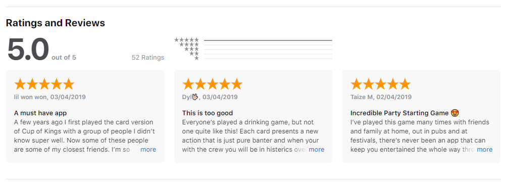An screenshot of several of the 5 star reviews that Cup of Kings received on the App Store.