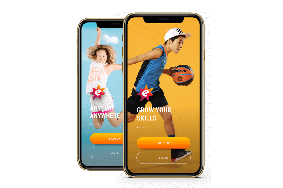 A mockup of the Elanation app, showing the login screen with kids being active and playing sport.