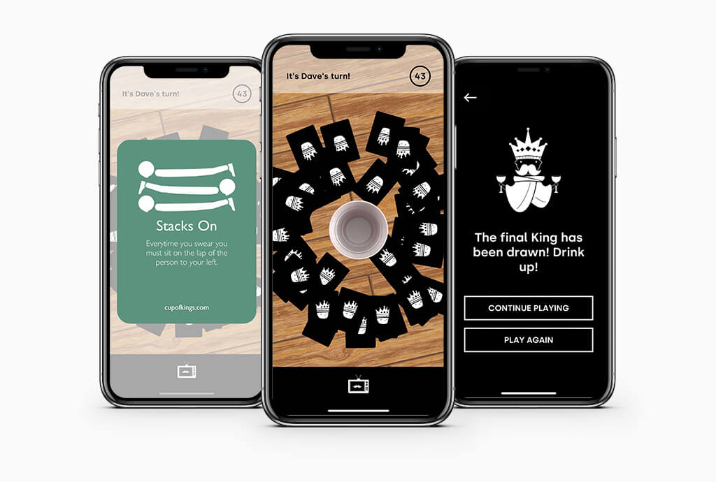 A mockup of several screens in the Cup Of Kings app, showing how the game plays and looks.