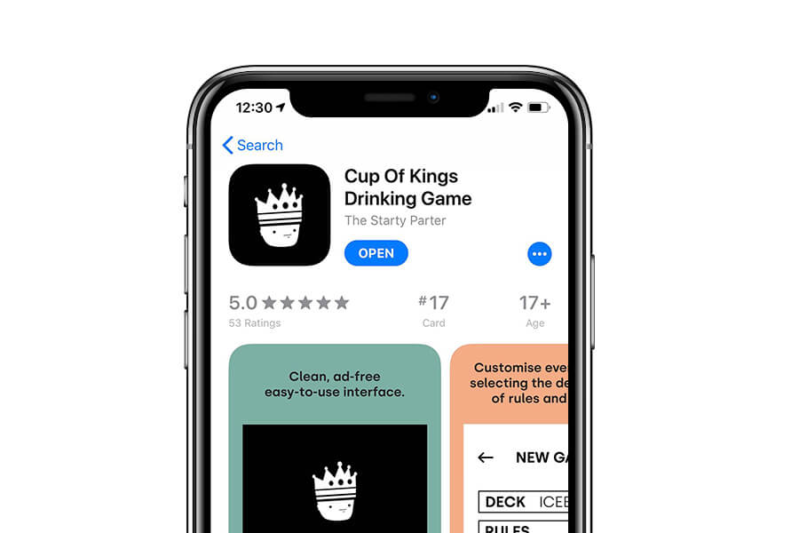 A screenshot of the Cup Of Kings iOS App Store listing with the app ranking in seventeeth place.