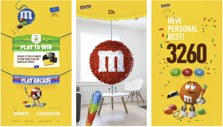 3 Screenshots from M&Ms Take Home the Fun App, an AR Pinata Game. Includes the Home Screen, Gameplay Screen and Score Screen