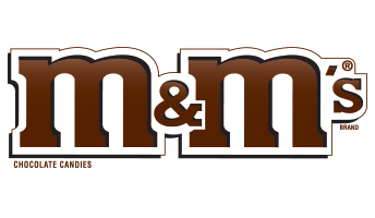 A logo for M&M's - part of Mars Incorporated, American global manufacturer of confectionery, pet food, and other food products and a provider of animal care services