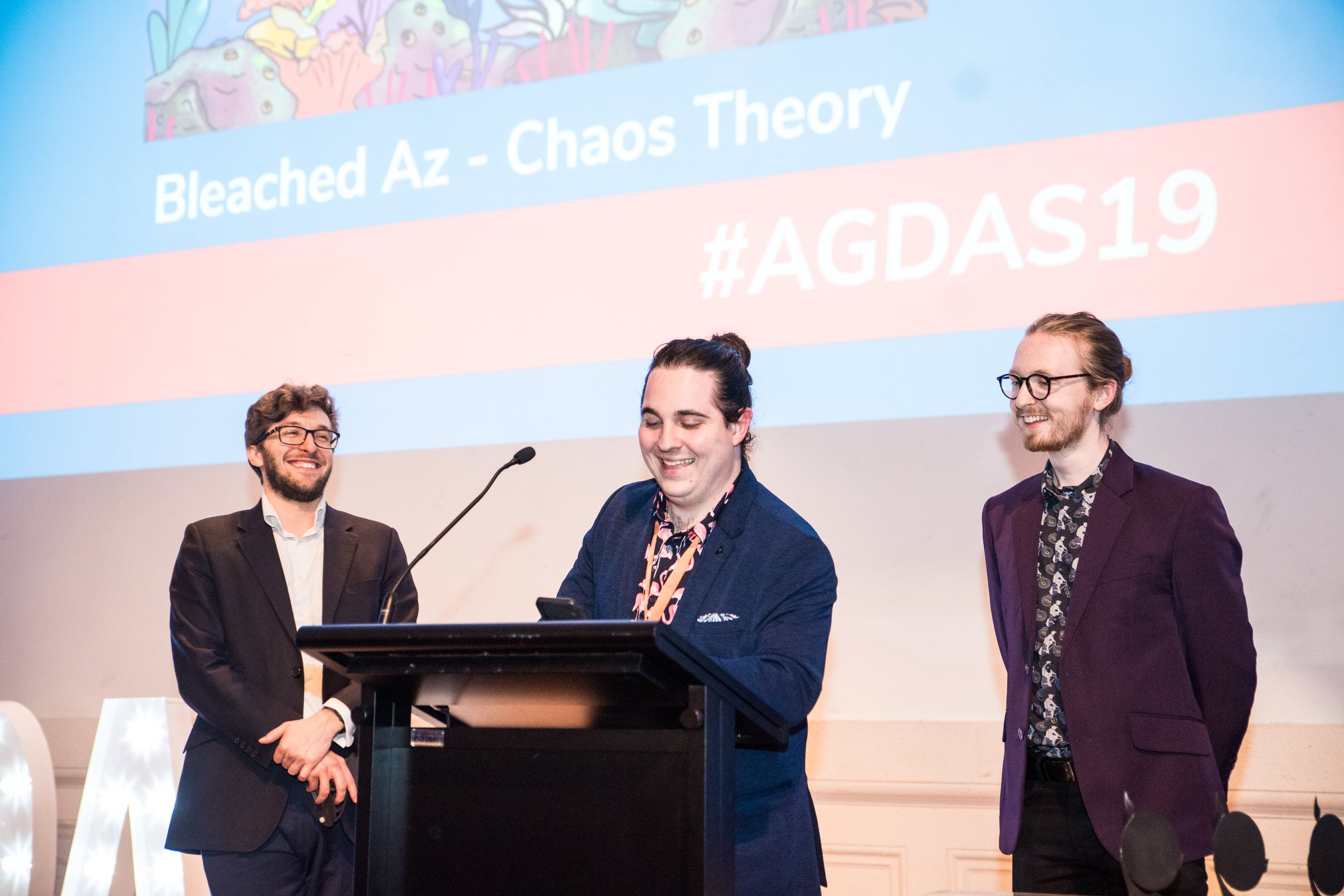 Chaos Theory's Executive Producer James Lockrey, Senior Producer Ryan Penning and Software Developer Rory Dungan accepting the Best Serious Game 2019 for Bleached Az at the Australian Game Developer Awards 2019 (AGDAs)
