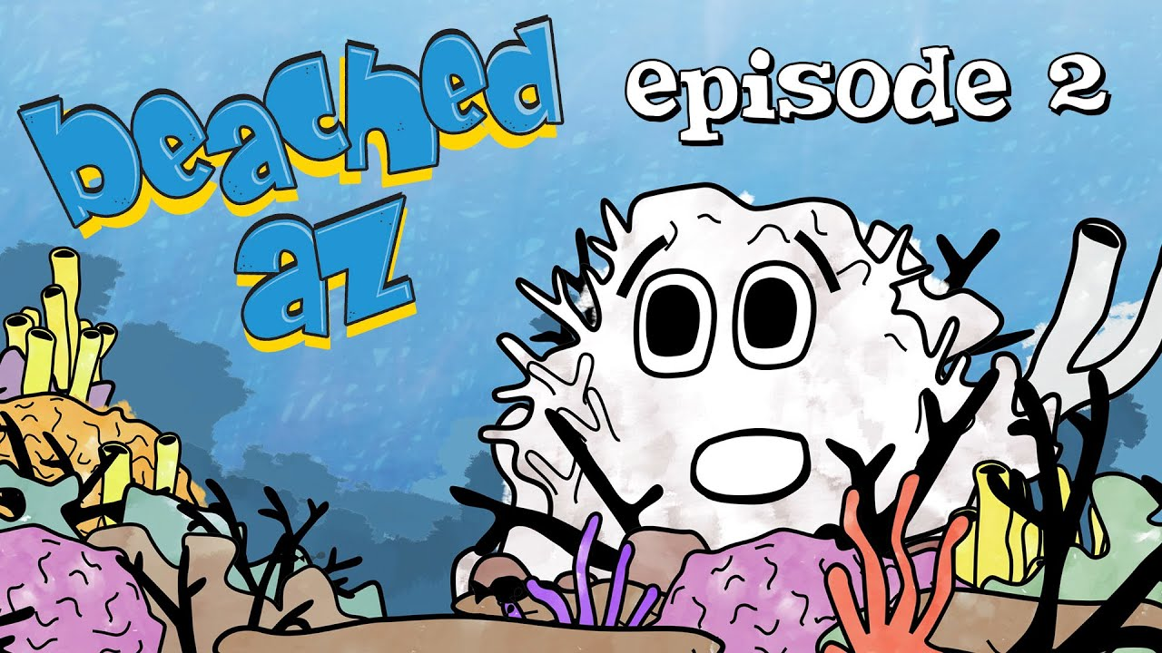 Screenshot from Beached Az Episode 2: Bleached Az featuring the bleached coral and sea horse from Beached Az cartoon