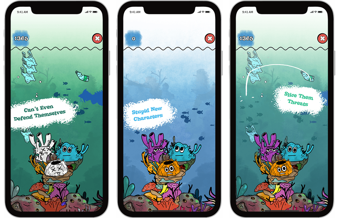 Bleached Az game play on iOS, screenshots of the hopeless corals Tony, Pete and Oscar. Mobile Arcade Game developed by Chaos Theory