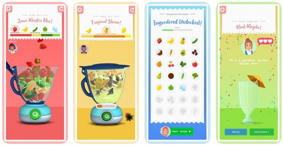 Screenshots from the mobile simulation game, Blendy! Developed by Chaos Theory Games and Major Frank