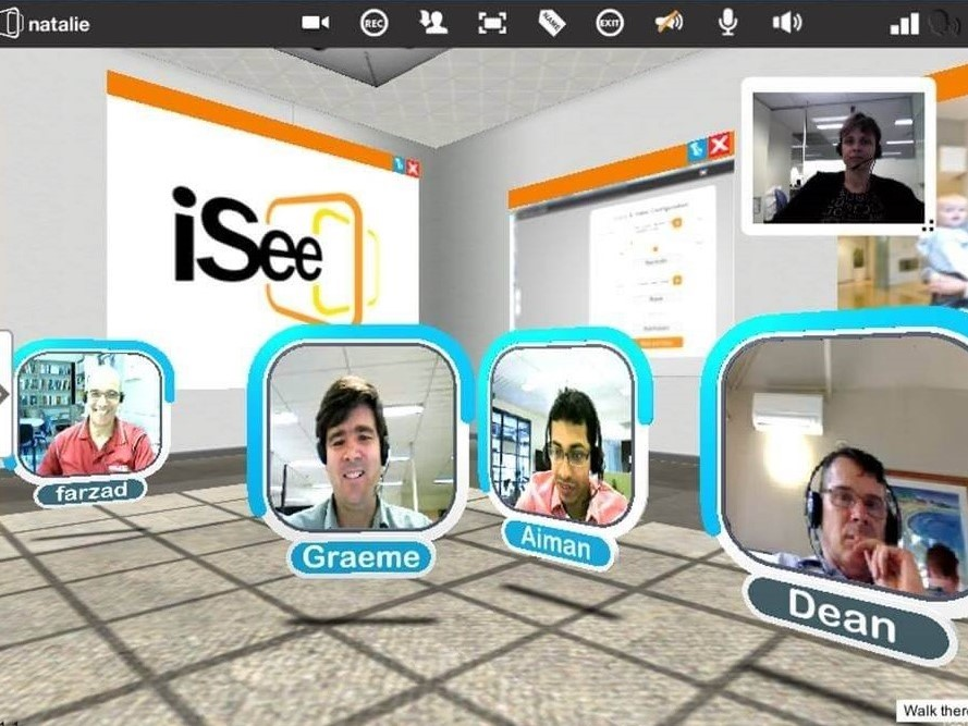 Screenshot of virtual meeting room in iSee, colleagues video conferencing and collaborating. Available on Windows and MacOS