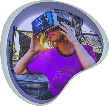 A woman using a virtual reality headset, icon for Virtual Reality VR Games at Chaos Theory Games, Sydney Australia