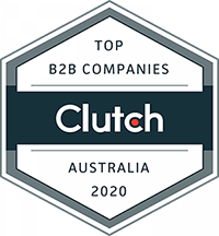 An award badge from Clutch.co, awarded to Chaos Theory Games for making the list of the Top B2B companies in Australia in 2020