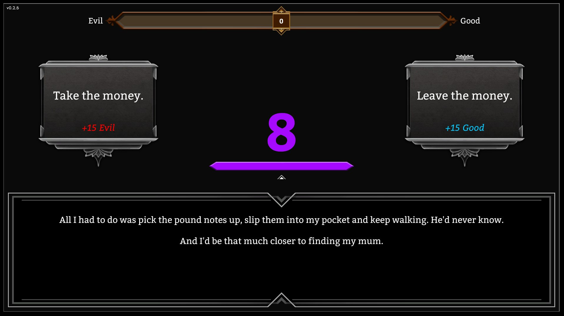 Screenshot of the Morality Meter in The Great Fire, player's must choose a the Evil or Good option to progress in the game. The Great Fire is available on Windows and MacOS
