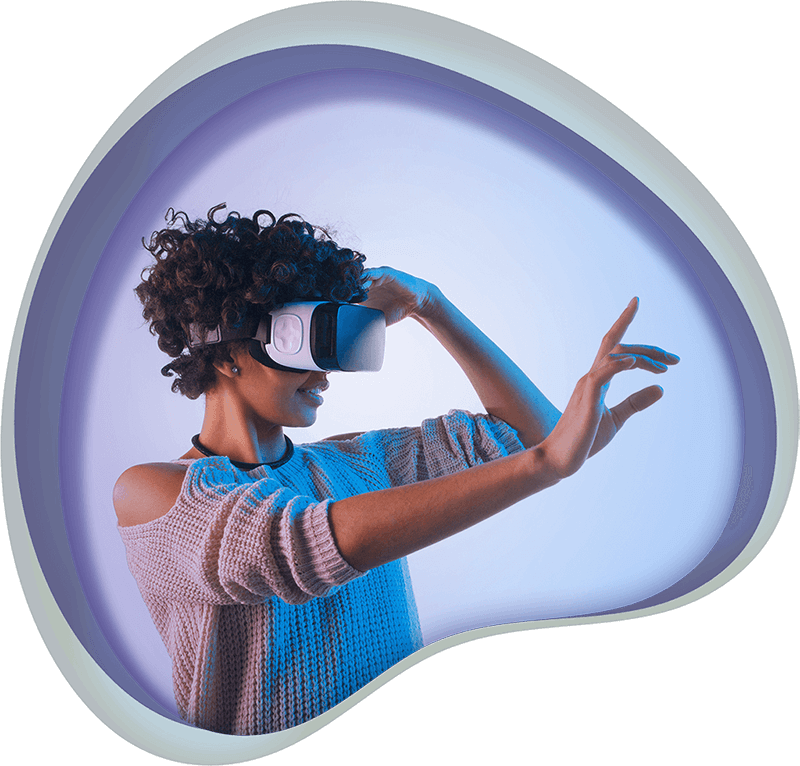 A woman using a virtual reality headset, icon for Marketing Games at Chaos Theory Games, Sydney Australia