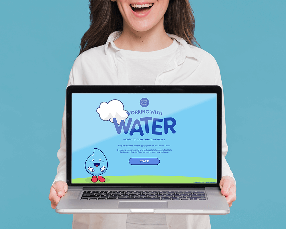 An image of a woman holding a MacBook with the Working with Water title screen. Working with Water is turn-based strategy web game made by Central Coast Council and Chaos Theory.