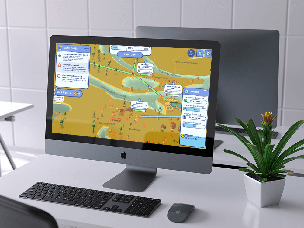 Ani image of an iMac that is showcasing the Working with Water gameplay. Working with Water is turn-based strategy web game made by Central Coast Council and Chaos Theory.