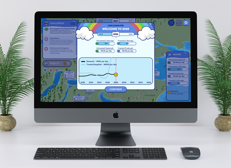 An iMac that is showcasing the Working with Water title screen. Working with Water is turn-based strategy web game made by Central Coast Council and Chaos Theory.