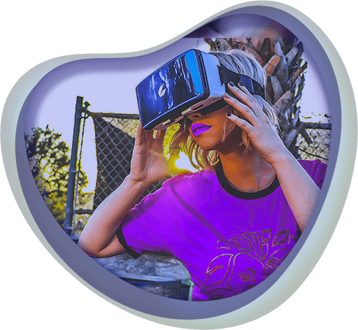 A woman exploring virtual reality using a VR headset, icon for Augmented Reality and Virtual Reality Games at Chaos Theory Games, Sydney Australia