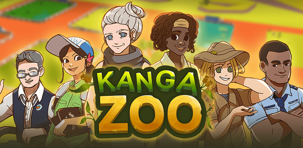KangaZoo feature graphic including the player character assemble. KangaZoo is a mobile simulation game developed by PentaQuest and Chaos Theory.
