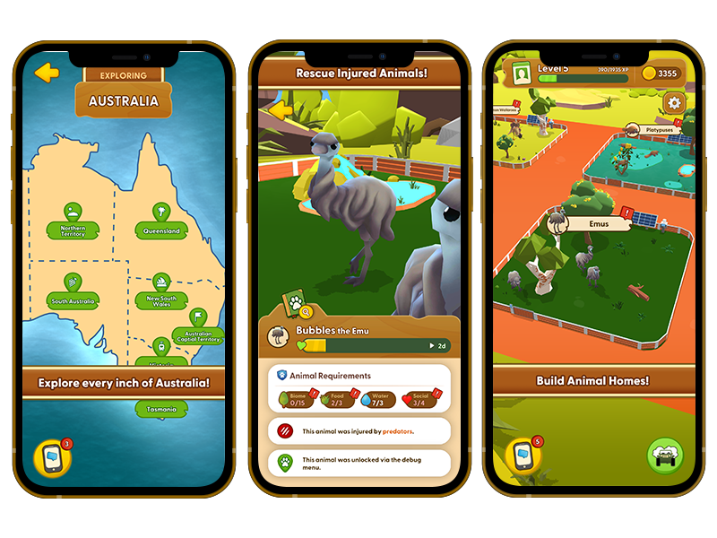 iPhone 12 Mockups featuring screenshots of KangaZoo gameplay. KangaZoo is a mobile simulation game developed by PentaQuest and Chaos Theory.