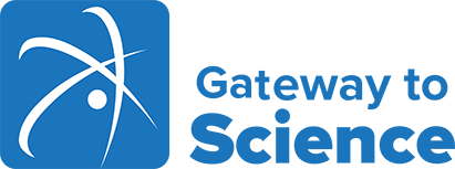 A logo for Gateway to Science, a kids' museum with interactive exhibits on electricity, robotics & other scientific topics.
