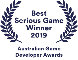 Chaos Theory's awards badge for winning Best Serious Game in 2019 at the Australian Game Developers Awards (AGDAs)