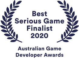 Chaos Theory's awards badge for their nomination for Best Serious Game in 2020 at the Australian Game Developers Awards (AGDAs)