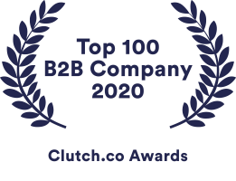 Chaos Theory's awards badge for making Clutch.co's list of Top 100 B2B Companies in 2020
