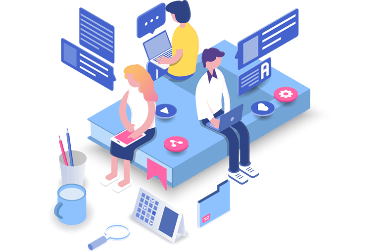 An isometric vector graphic representing Relatedness. A group of people working on their devices. - Chaos Theory | Serious Games Developer, Australia