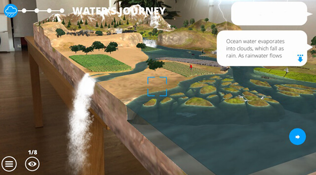 A screenshot from the WWF's augmented reality game WWF Free Rivers - Chaos Theory | Serious Games Developer, Australia