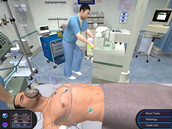A screenshot from the medical education game Pulse!! by BreakAway Games and Dr. Claudia Johnston. Pulse!! allows medical and nursing students to apply theoretical knowledge in a simulation of clinical training. - Chaos Theory | Serious Games Developer, Australia
