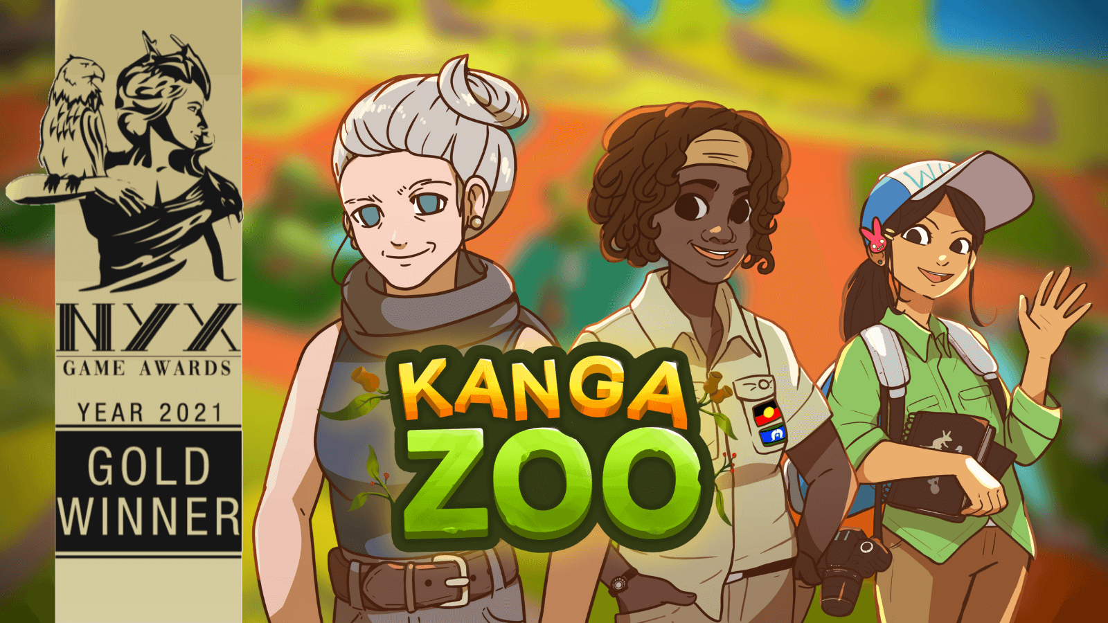 NYX Game Awards Gold badge for the Educational Mobile Game Category. KangaZoo is a mobile simulation game developed by PentaQuest and Chaos Theory.