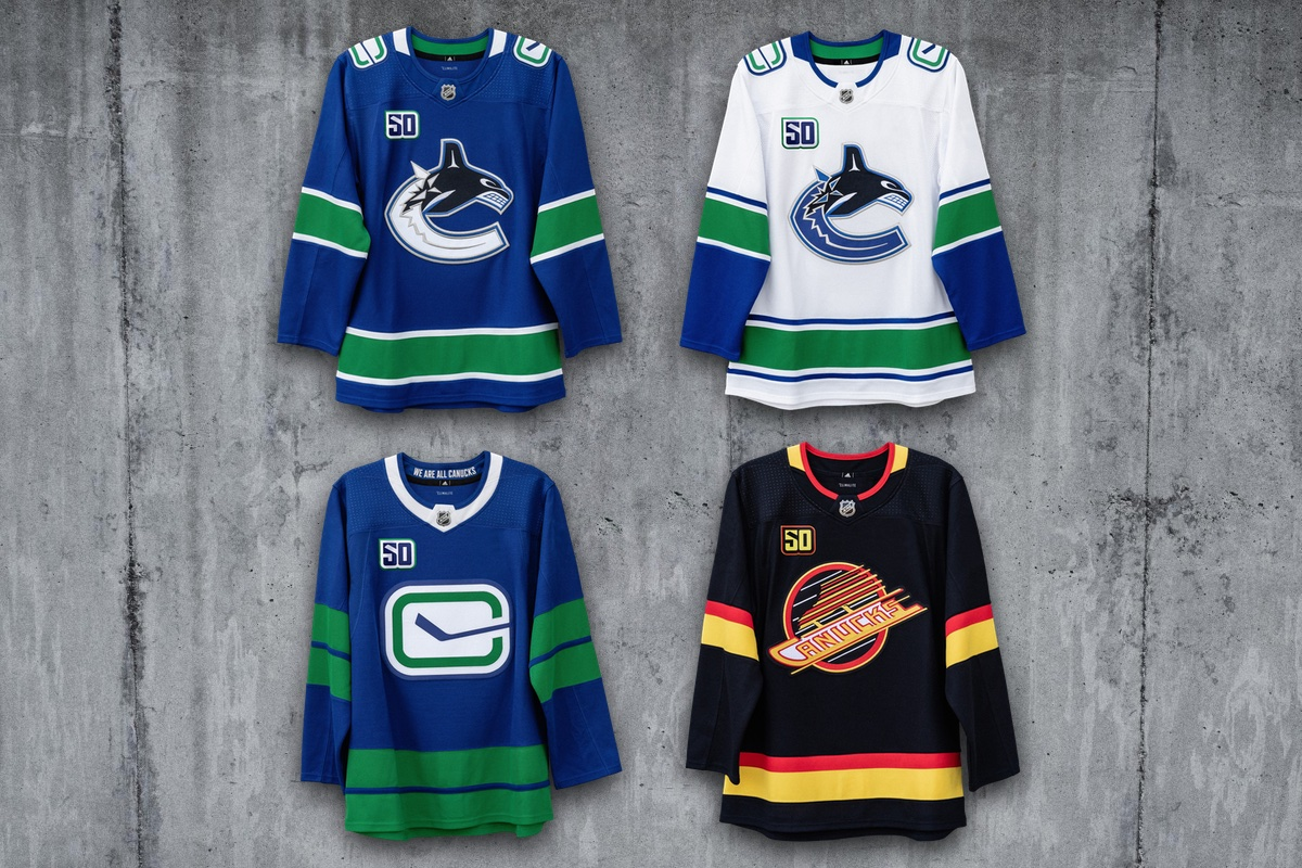 Canucks unveil quartet of new sweaters for 50th anniversary