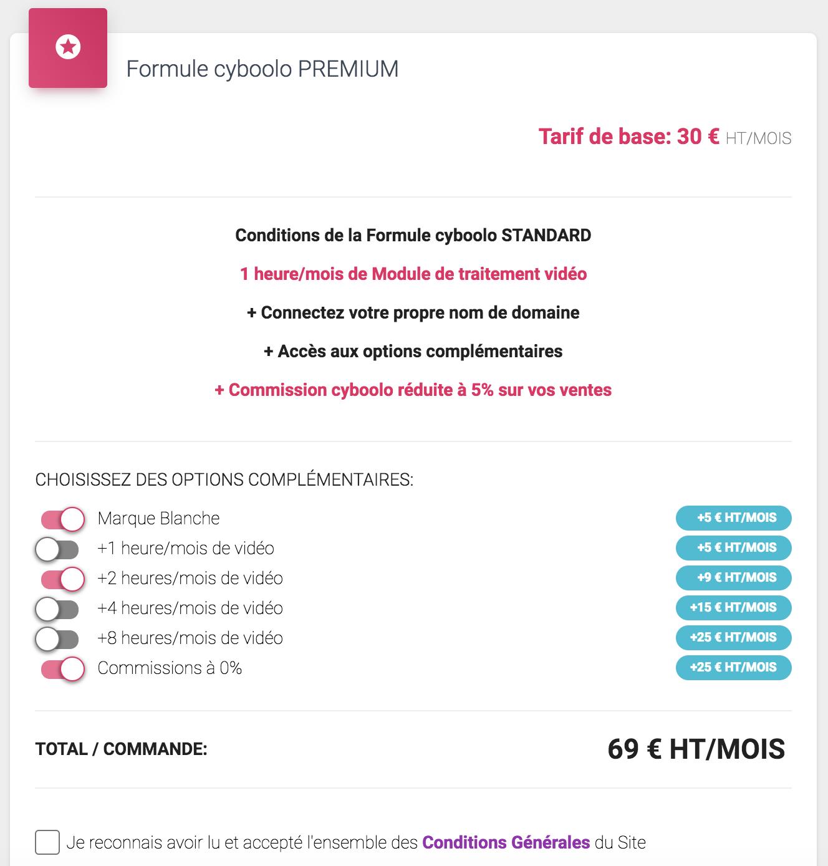 Formule cyboolo premium avec options payantes