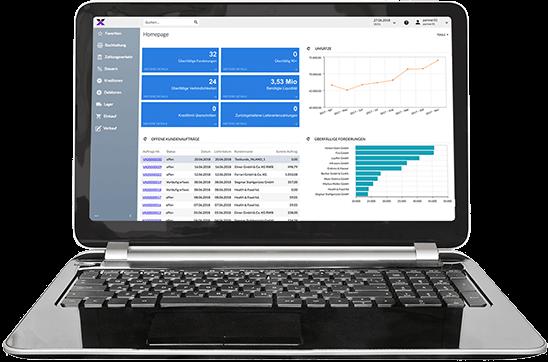lexbizz ERP – Screen vom Dashboard auf Notebook