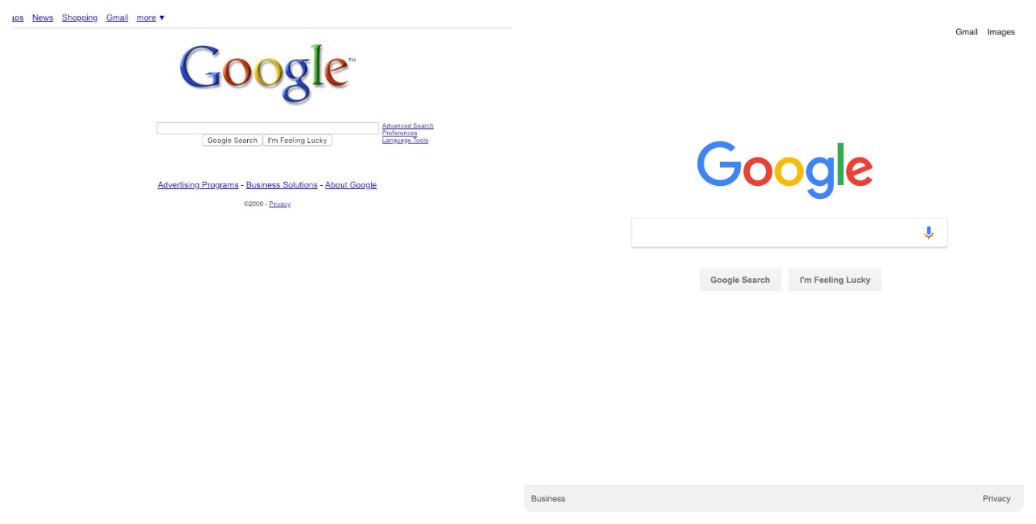 Google thay đổi thiết kế giao diện web trong 10 năm như thế nào