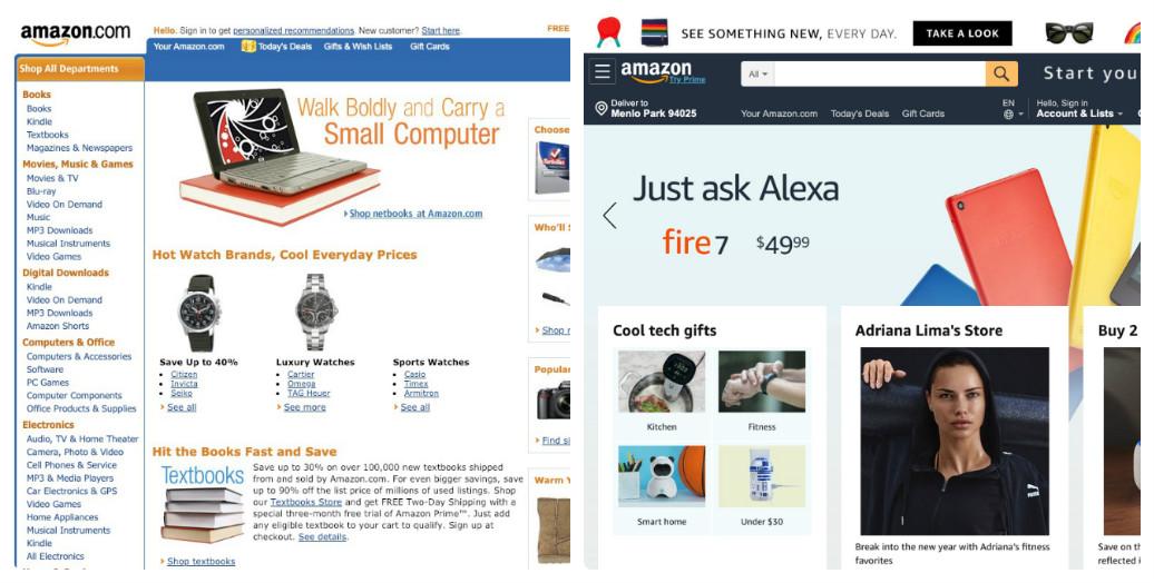Amazon thay đổi thiết kế giao diện web trong 10 năm như thế nào